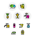 set icons on different topics icons isolated vector image vector image