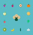 set of dessert icons flat style symbols with salad vector image