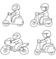 set of riding motorcycle vector image