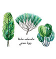 set of watercolor green trees vector image vector image