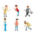 six trendy cartoon characters vector image vector image