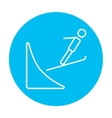 Ski jumping line icon vector image vector image
