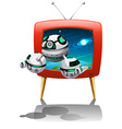 Spaceship flying out of television vector image vector image
