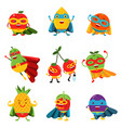 superheroes fruits in different costumes set of vector image
