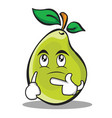 thinking face pear character cartoon vector image vector image