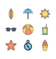 tourism travel time summer icons set vector image vector image
