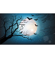 tree branches silhouette and bats flying at night vector image