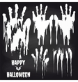 White handprints on chalkboard for halloween vector image vector image