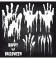 white handprints on chalkboard for halloween vector image vector image
