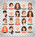 woman avatar set on transparent background vector image vector image
