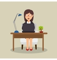 woman sitting desk working laptop office vector image vector image