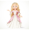 Beautiful young blond princess in a pink dress vector image