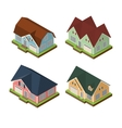 Isometric 3d private house icons set vector image