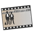 Film frame with silhouettes gangsters vector image