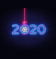 2020 happy new year neon sign new year vector image vector image