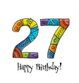 27th anniversary celebration greeting card vector image vector image