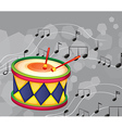 A drum with musical notes vector image vector image