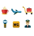 Airport Icons Flat Set vector image vector image