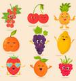 big bright set funny cartoon fruits vector image
