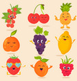 big bright set of funny cartoon fruits vector image vector image