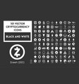 big set black and white cryptocurrency vector image