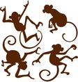 Brown Monkeys Silhouettes Isolated on White vector image vector image