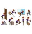burglar icons set cartoon style vector image vector image