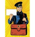 Cheerful retro postman pop art vector image vector image