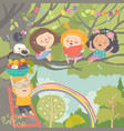 children playing and having fun in tree vector image vector image