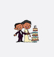 couple of newlyweds cutting wedding cake happy vector image vector image