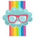 Cute cartoon cloud in hipster glasses vector image vector image