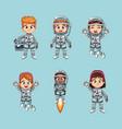 cute kids astronauts cartoon vector image