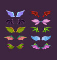different cartoon animal wings set angel devil vector image