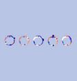 diverse family hug modern flat cartoon circle set vector image vector image