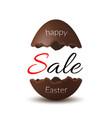 easter egg text sale chocolate broken happy vector image vector image