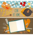 Flat design food and cooking banner vector image vector image
