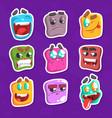 funny emojis stickers set emoticons vector image