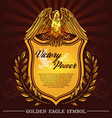 golden hearldic eagle shield and laurel vector image vector image
