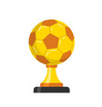 golden trophy with soccer ball isolated vector image vector image