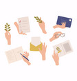 hands holding envelope and paper sheet vector image