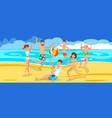 happy friends playing ball on beach vector image