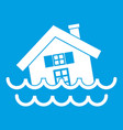 house sinking in a water icon white vector image vector image