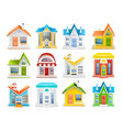 icon set of houses and buildings of different type vector image