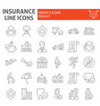 insurance thin line icon set healthcare symbols vector image vector image