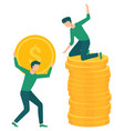 investment growth man on stack on coins vector image