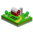 isometric red barn and trees cows vector image