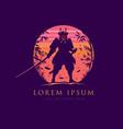 japanese swordman warrior challenging opponent vector image