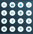 job icons colored set with analytic presenting vector image