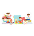 kids reading books flat cute vector image