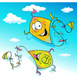 kite flying on blue sky - vector image vector image